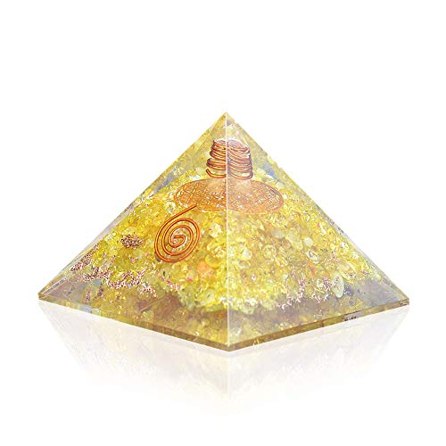 Lens Ion Crystal - Orgone Pyramid - Citrine Copper Healing Crystals - Orgone Energy Pyramid for EMF Protection Chakra Balancing - Heart Love Booster - Flower of Life