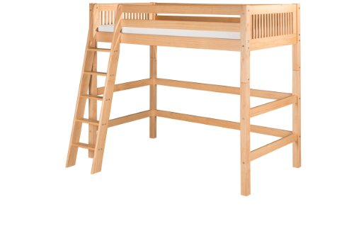 Camaflexi Mission Style Solid Wood High Loft Bed, Twin w/ Side Angled Ladder, Natural