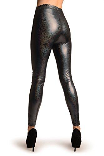 Grey Shiny Gloss Sparkles Leggings - Gris Leggings Taille Unique (34-38)