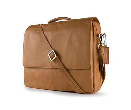 Leather Business Case Bag/Briefcase/Handbag Medium, Sand, One Size