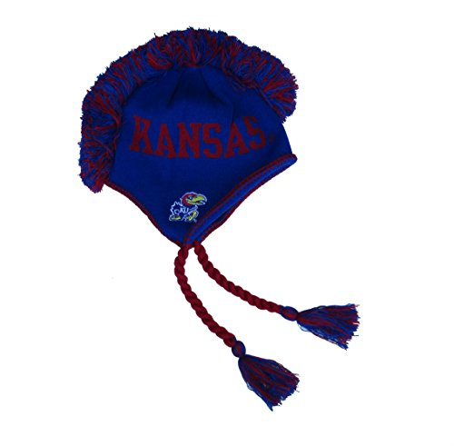 Kansas Jayhawks Mohawk Braided Knit Beanie w/ Tassels NCAA Authentic Hat Cap - Team Colors