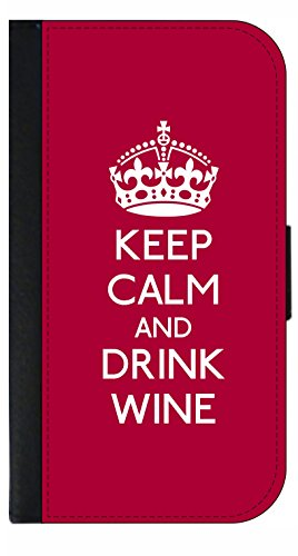 Keep Calm and Drink Wine - TM Phone Case with Closing Flip Cover and Credit Card Slots for the Apple iPhone 7 Plus
