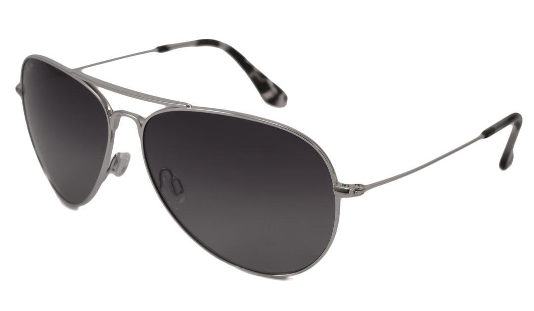 Maui Jim Sunglasses | Mavericks 264 | Aviator Frame, Polarized Lenses, with Patented PolarizedPlus2 Lens Technology Silver; Grey Lense by Maui Jim