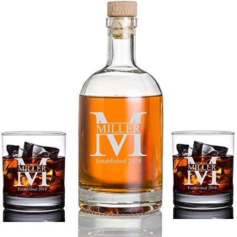 Personalized Whiskey Bourbon Glass Set Bottle Custom Engraved Liquor Decanters Amazon Com