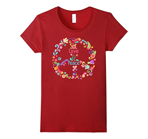 Womens PEACE SIGN LOVE T Shirt 60s 70s Tie Die Hippie Costume Shirt Small Cranberry - Halloween Tie Dye