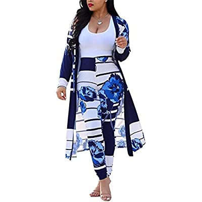 Womens Floral Print Long Sleeve Cardigan Cover up Long Pants 2 Piece Outfits Set: Clothing
