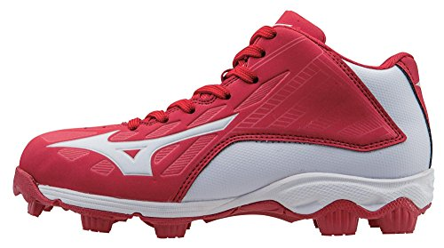 Mizuno 9 Spike ADV Yth FRHSE8 MD RD-WH Youth Molded Cleat (Little Kid/Big Kid), Red/White, 5.5 M US Big Kid