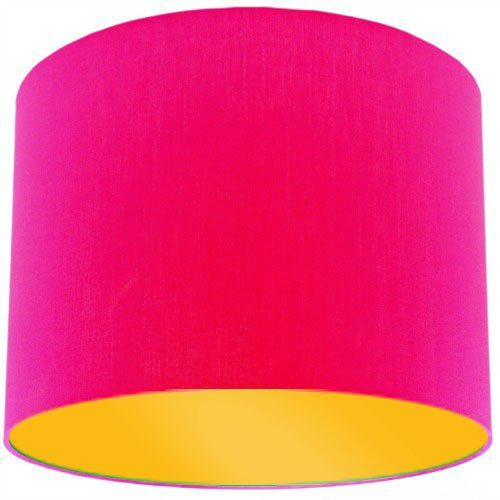 Pink lamp shade with bright yellow lining amazon handmade pink lamp shade with bright yellow lining aloadofball Images