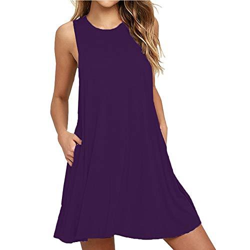 The Plus Project Women's Summer Casual Sleeveless Long Plain Pleated Tank Vest Dresses T-Shirt Dress(Purple,XL)