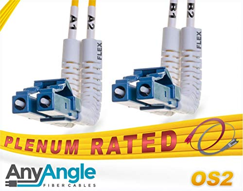 FiberCablesDirect - 2M OS2 LC LC Fiber Patch Cable | AnyAngle Duplex 9/125 LC to LC Singlemode Jumper 2 Meter (6.56ft) | Length Options: 1M-30M | Plenum 1/10g lclc 10gbase lr er sfp+ ofnp smf-lc-lc ()