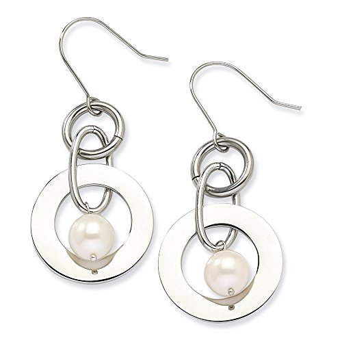 Stainless Steel White Freshwater Cultured Pearl Drop Dangle Chandelier Earrings Fashion Jewelry Gifts For Women For Her