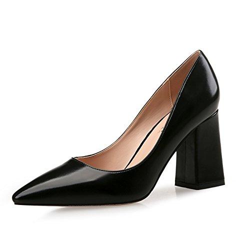 Xue Qiqi mit high-heel Schuhe Frauen mit Qiqi fetten schwarzen Spitze und vielseitig, mit einem frischen Schuh, 36,6 CM - b91b5f