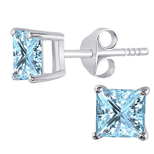 Womens Fashion Jewelry14K Gold Rhodium Plated Alloy White/Yellow/Rose/Black Alloy 1.00CW Highest Quality Princess Cut Created Aquamarine Stud Earrings (Cut Princess Aquamarine)