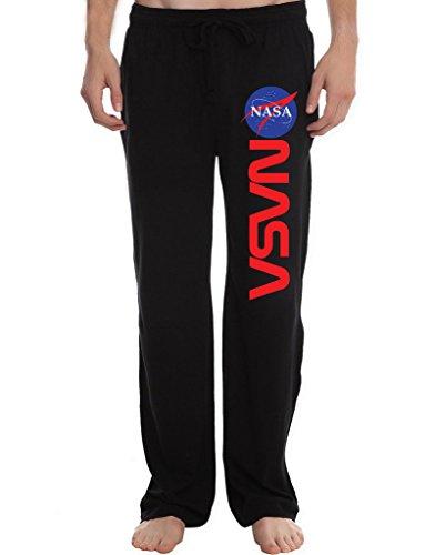 RBST Men's NASA Logo Running Workout Sweatpants Pants M Black