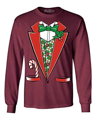 Shop4Ever Tuxedo Christmas Costume Long Sleeve Shirt Funny Xmas Shirts 3XL Maroon 12258 -