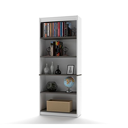 Bestar Innova 5 Shelf Bookcase in White and Antigua
