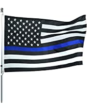 ROTERDON Thin Blue Line Punisher Flag - 3x5 Feet Skull Durable Military Memorial USA America Banner Flags