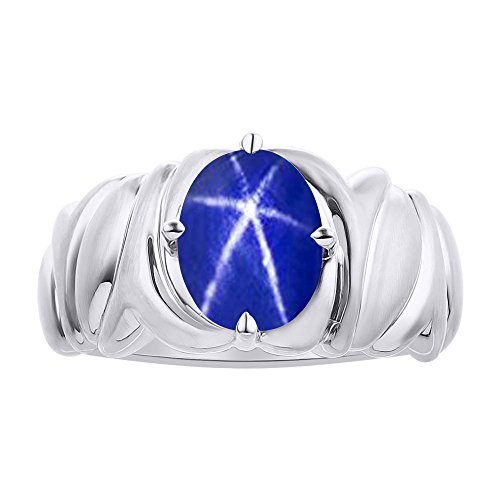 Solitaire Blue Star Sapphire Ring Set In Sterling Silver - Color Stone Birthstone Ring by Rylos