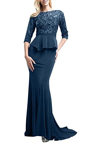 Festlichkleider La Dunkel Langes Figurbetont Braut aus Brautmutterkleider mia Abendkleider Blau Spitze Satin Meerjungfrau wq8fwrSg