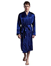 DF-deals Men's Satin Robe Long Kimono Robes Silk Sleewear Bathrobes