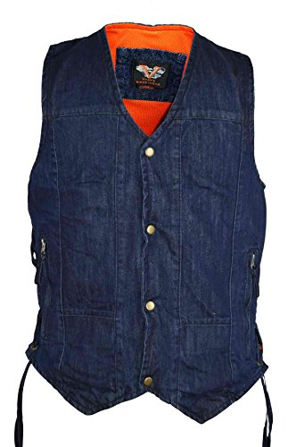Vance Leather Men's Blue Denim Patch Holder Vest with Snap and Zipper Front