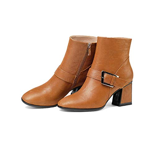 orange tempérament tête fermeture chaussures Zpedy confort hauts bottines glissière talons femmes carrée mode pour à S6twwqgxO