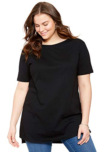 (Woman Within Women's Plus Size Perfect Boat Neck Elbow-Lengh Sleeve Tunic - Black, L)
