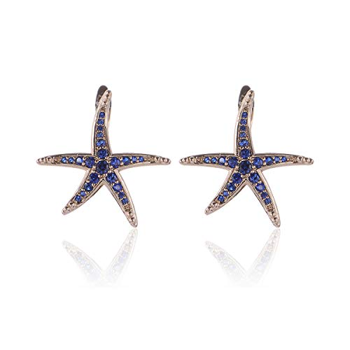 ud Earrings - MYKEA 18K White Gold Plated Fashion Sea Star Jewelry Accessories for Women Girls Gift (Royal Blue) ()