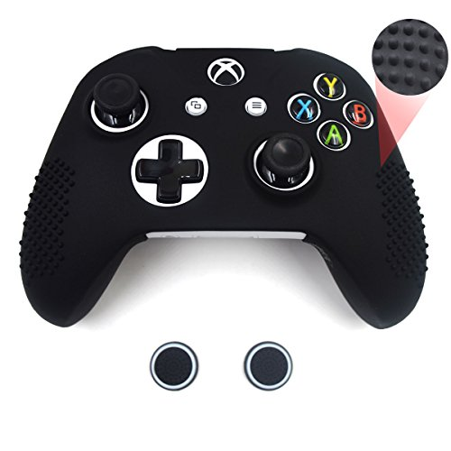 Cover Slip Anti Protective (Taifond Anti-Slip Silicone Controller Cover Protective Skins for Microsoft Xbox One S & One X Controller with Two Thumb Grip Caps (Black))