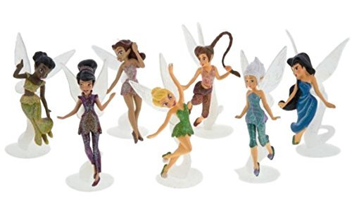 Disney Parks Pixie Hollow Fairies Collectible 7 Piece Figure Set (Tinkerbell, Silvermist, Fawn, Rosetta, Iridessa, Vidia, Periwinkle) ()