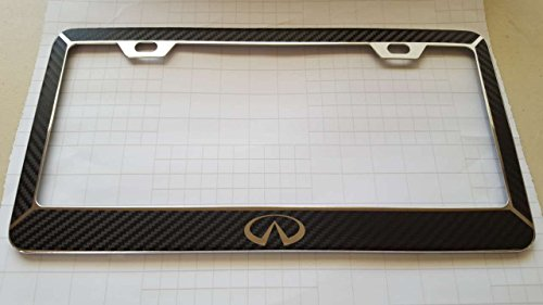 infiniti-black-carbon-fiber-style-reverse-cut-decal-chrome-metal-license-frame