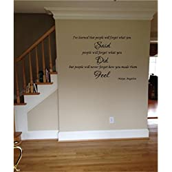Quote It - Maya Angelou Quote I've Learned That People Inspirational Quote Vinyl Wall Decal Sticker Transfer Life Sayings Family Quotes (18 x 30)