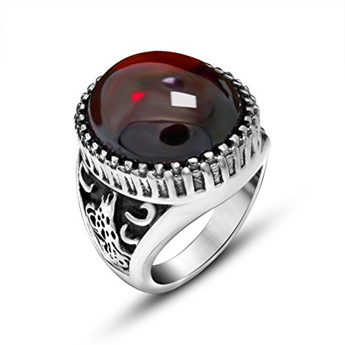 OAKKY 316l Stainless Steel Classical Exquisite Animal Pattern Red Agate Rings Size (Stainless Steel Agate)