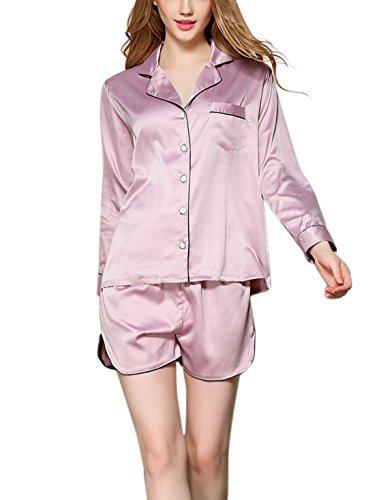 Aivtalk - Conjunto de 2 Piezas Ropa de Dormir Pijama de Seda Imitación Camiseta de Mangas Largas con Pantalones Cortos para Mujer Violeta claro