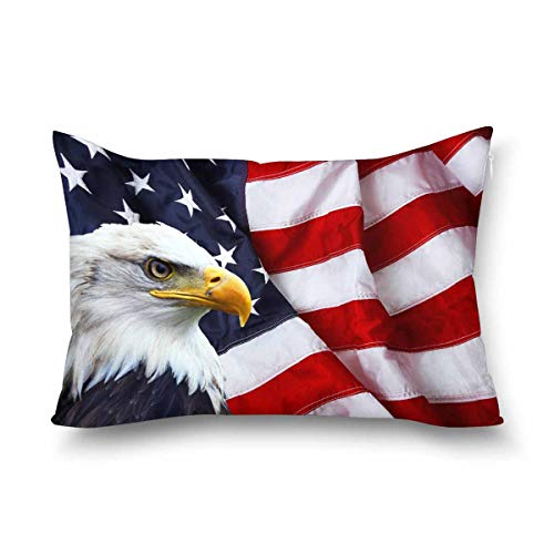 InterestPrint Waving American Flag with Bald Eagle Decor Pillow Cover Case, Queen Size 20x30 Inch Rectangle Zippered Pillowcase Protector