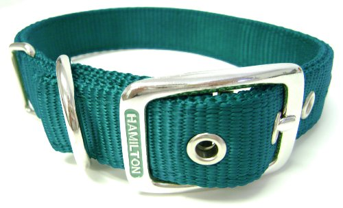 Hamilton Double Thick Nylon Deluxe Dog Collar, 1-Inch by 32-Inch, Dark Green