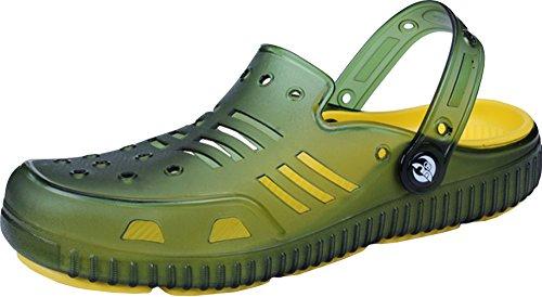 Gaatpot Mens Lightweight Slip-On Clogs Flip-Flop with Heel Strap Summer Casual Quick Drying Anti-Slip Beach Walking Sandals Shoes Green