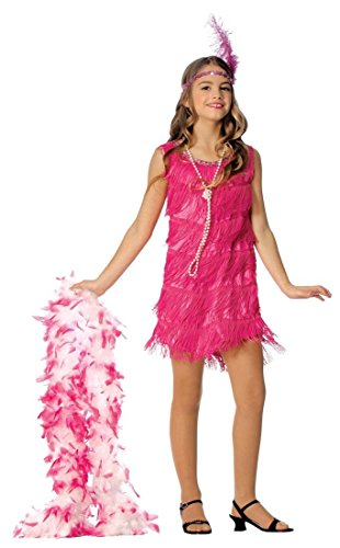 1920s Flapper Girl Costume (Official Costumes Flapper Kids Costume, Hot Pink, Medium)