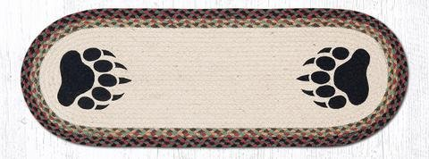 13''X36'' Burgundy/Black/Sage Bear Paw Oval Table Runner by Heart of America (Image #1)