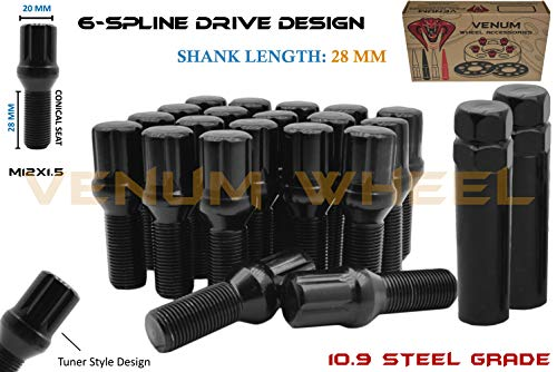 - 20 Pc Black Locking Spline Lug Bolts M12x1.5 + 2 Keys   28 MM Factory Length   Compatible W/ BMW 128i 135i 318i 320i 325i 328i 335i M3 525i 528i 530i 535i M5 Z3 Z4 E36 E46 E60 E90 E92 E93