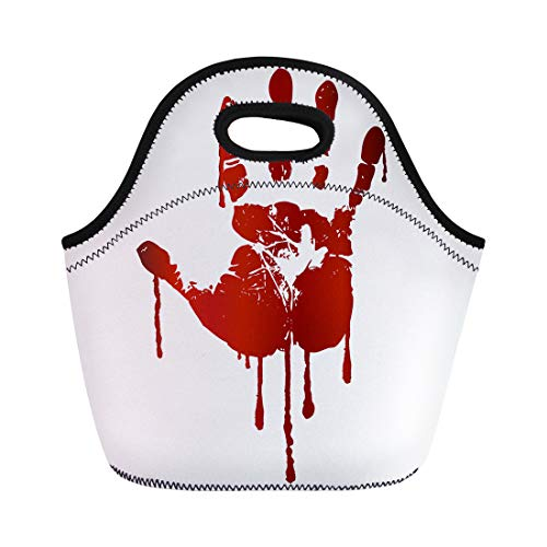 Semtomn Lunch Bags Handprint Red Blood Bloody Hand Splatter Drip Terror Murder Neoprene Lunch Bag Lunchbox Tote Bag Portable Picnic Bag Cooler Bag ()