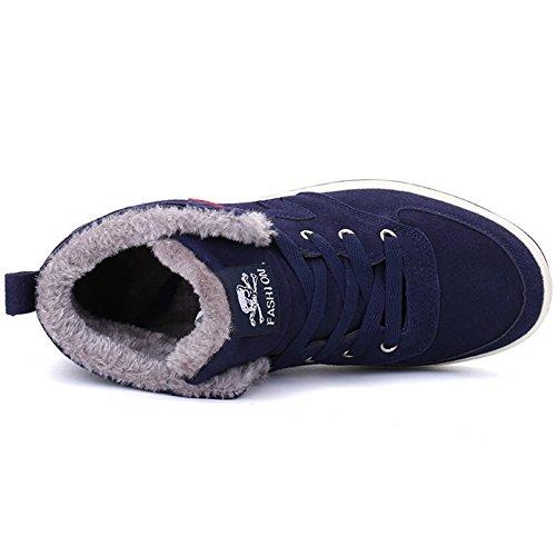 Vilocy Uomo Inverno Pelliccia Fodera Calda Stringate Stivali Da Neve In Pelle Scamosciata Da Lavoro Sneakers Alla Caviglia Blu Scuro