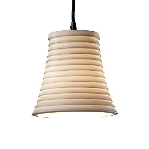 - Justice Design Group POR-8815-20-SAWT-MBLK Limoges Collection 1-Light Pendant, Mini