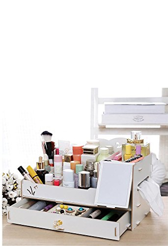 Makeup Organizer Cosmetic Display case Jewelry Organzier Lipstick holder Desktop Organizer Holder Dispenser with 1 mirror and 1 tissue box (White) by PlusGift