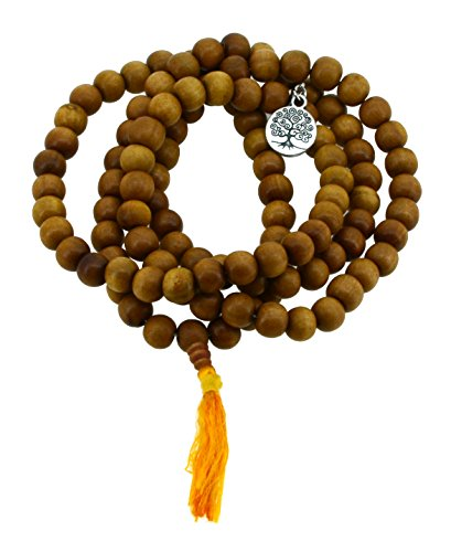 Wooden Prayer Beads - Tibetan Zen Buddhist Wooden 108 Yoga Meditation Mala Prayer Beads, 12mm (Round Tree of Life)