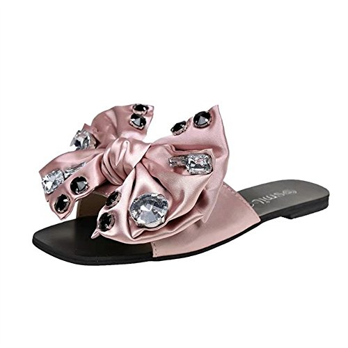 DENER Women Girls Ladies Summer Flat Slippers Moccasins,Bow Tie Rhinestones Open Toe Indoor Outdoor House Beach Sandals (Pink, 37) ()