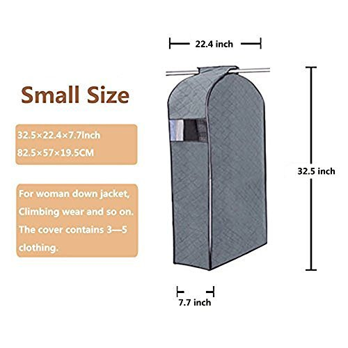 Garment Covers Zipper Bag,DiDaDi Breathable Bamboo Charcoal [Dust Resistant] [Anti Moisture] Wardrobe Closet Clothing Organizer Portable Moth Protection Cloth Hanging Bag for Dresses Suit - S (Small)