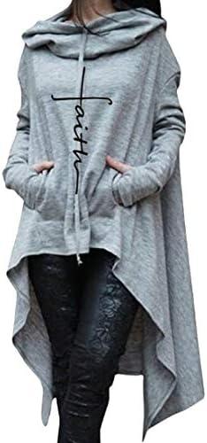 Yayu Womens Asymmetric Long Sleeve Hoodies Sweatshirts Dress Casual Sweatshirts