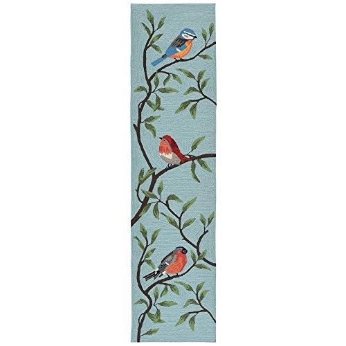 (Liora Manne RVLR8227004 2270/04 Aqua Ravella Bird on Branches Indoor/Outdoor Runner Rug, 2' X 8', Blue )