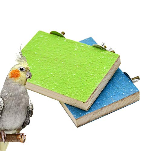 2 Pack Colorful Bird Perch Stand Platform Natural Wood Playground Paw Grinding Clean for Pet Parrot Budgies Parakeet…